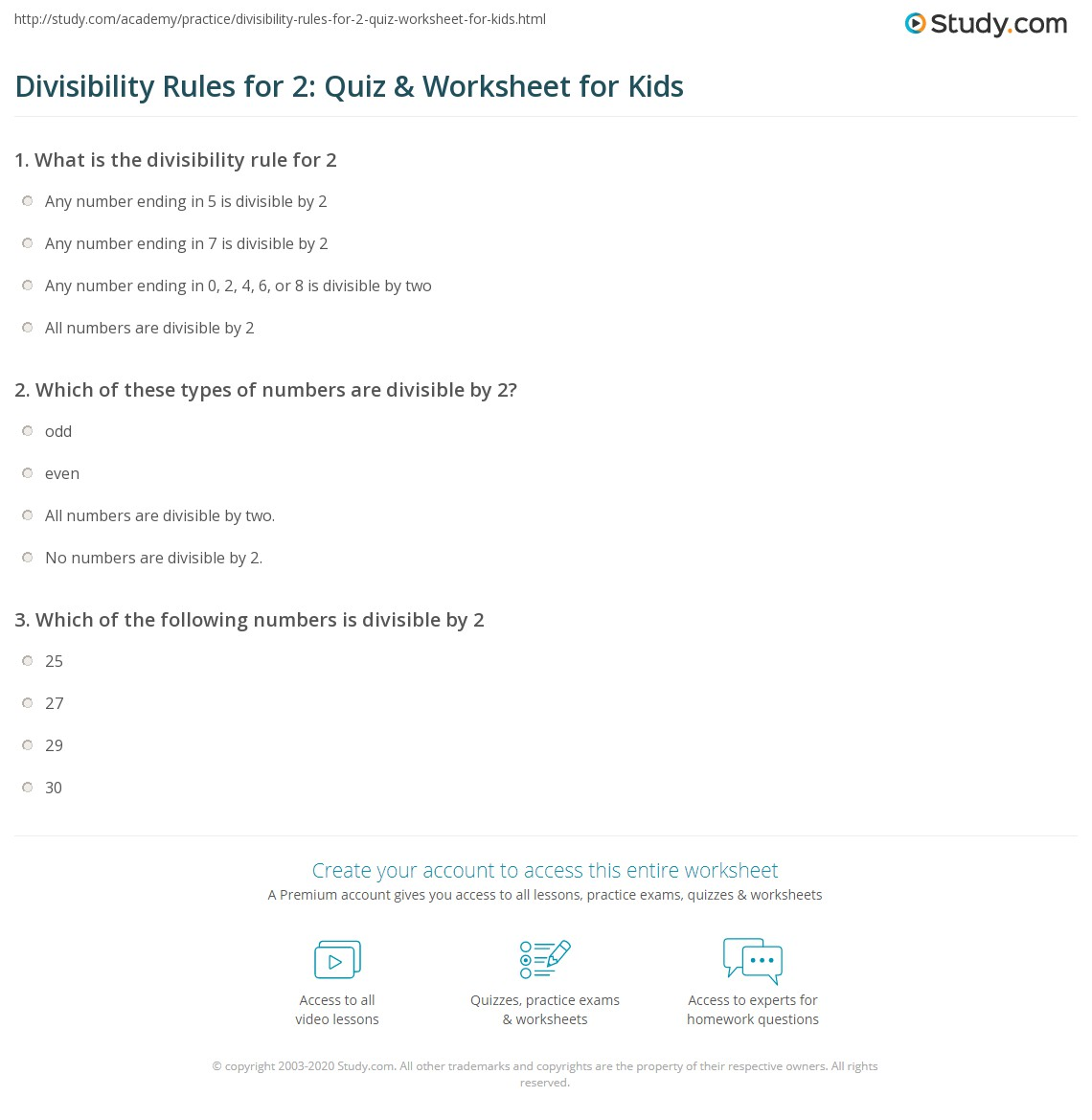 Divisibility Rules 2 Quiz W Ksheet Kids Study
