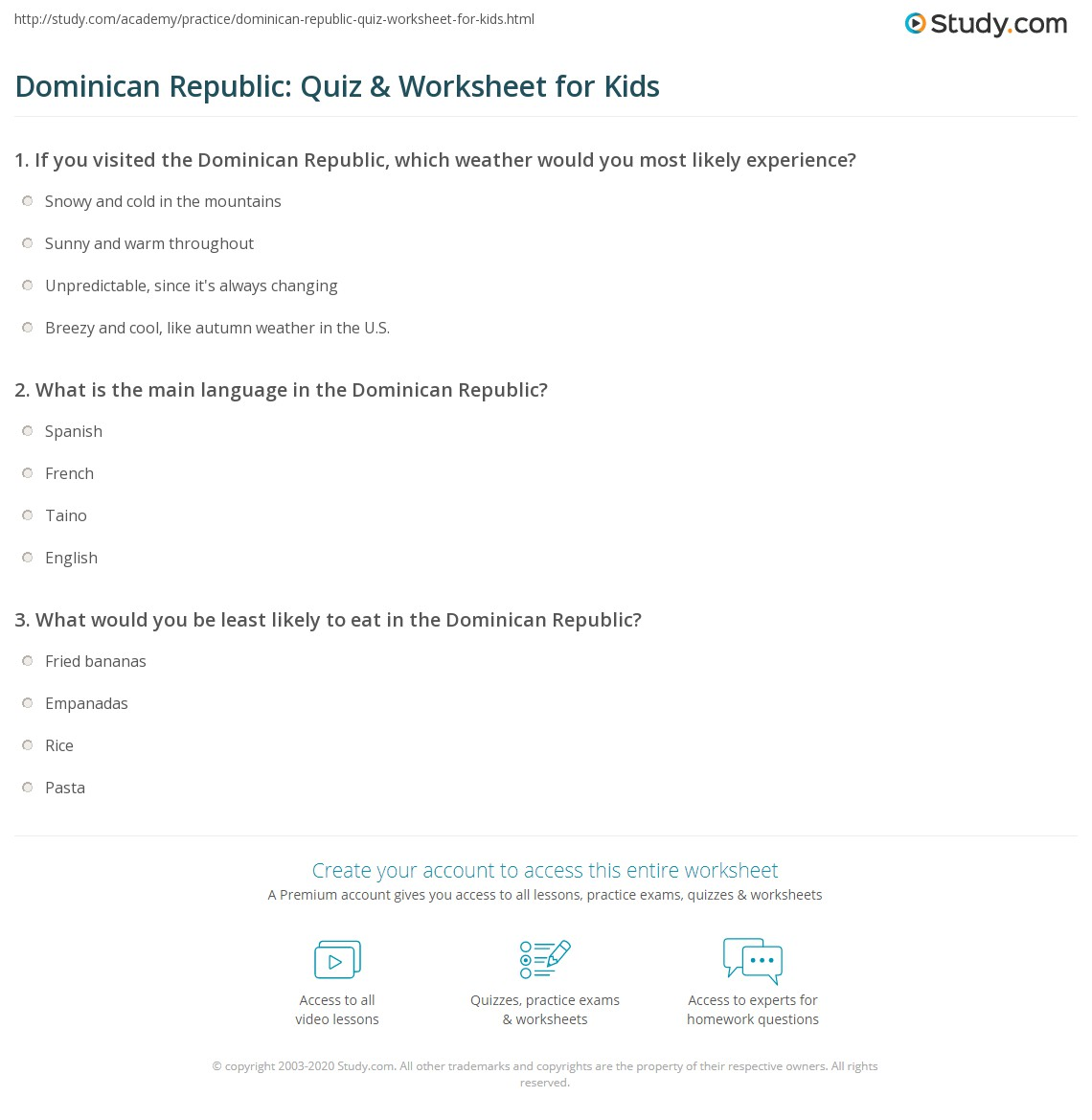 Dominican Republic Quiz Amp Worksheet For Kids