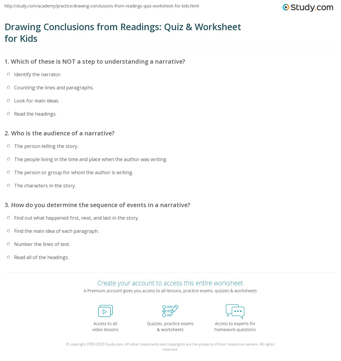 Drawing Conclusions From Readings Quiz Amp Worksheet For