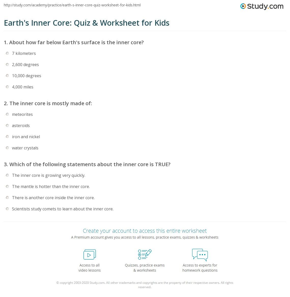Earth S Inner Core Quiz Amp Worksheet For Kids
