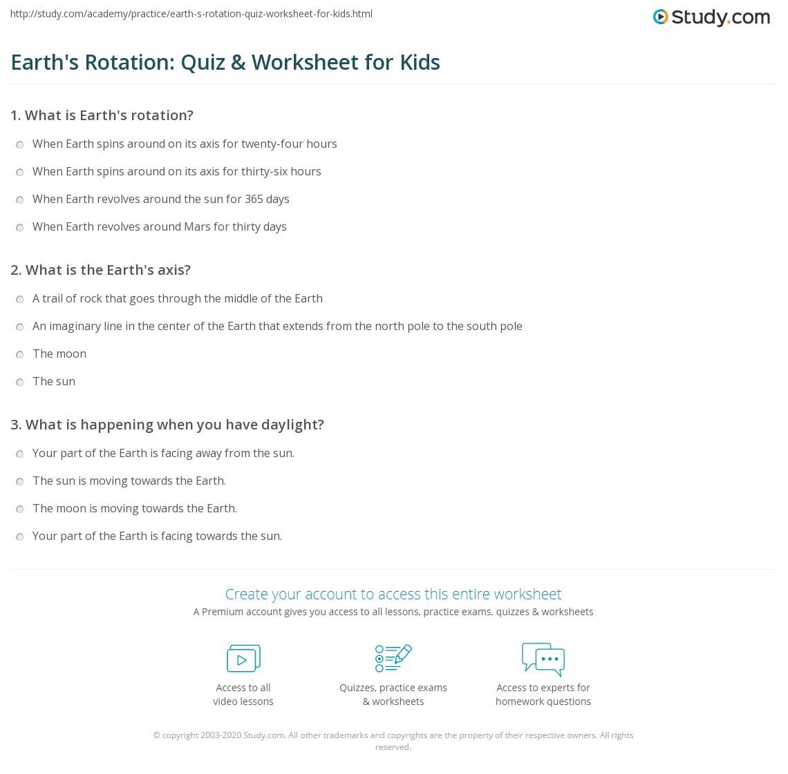 Earth S Rotation Quiz Amp Worksheet For Kids