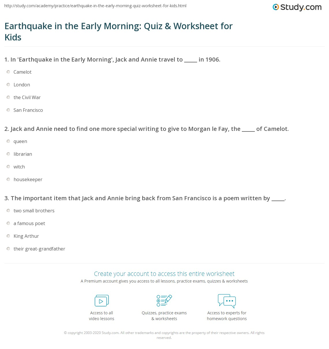 Earthquake In The Early Morning Quiz Amp Worksheet For Kids