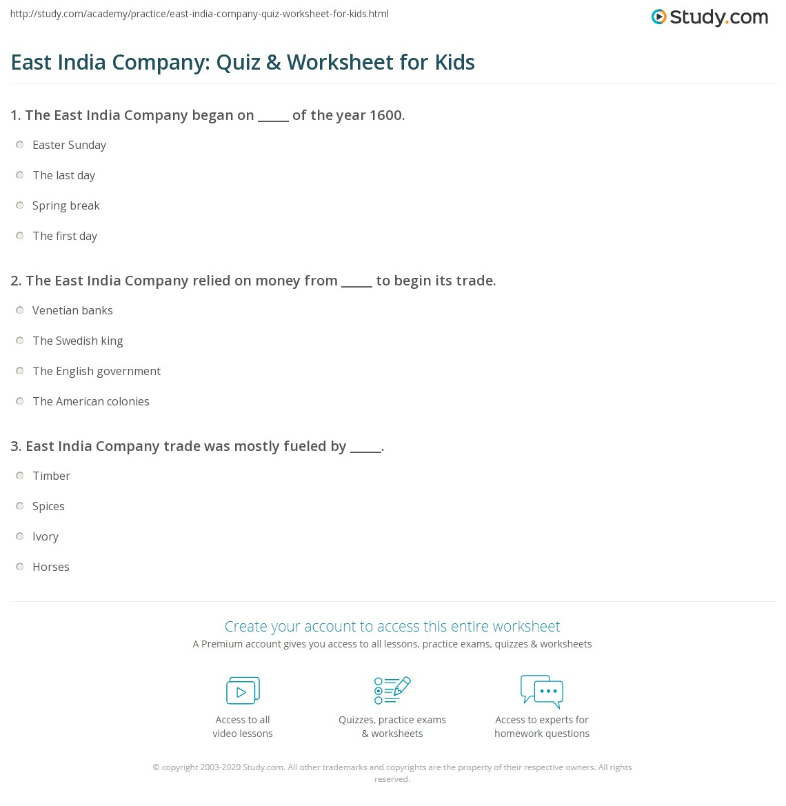 East India Company Quiz Amp Worksheet For Kids