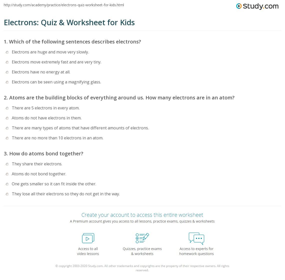 Electrons Quiz Amp Worksheet For Kids