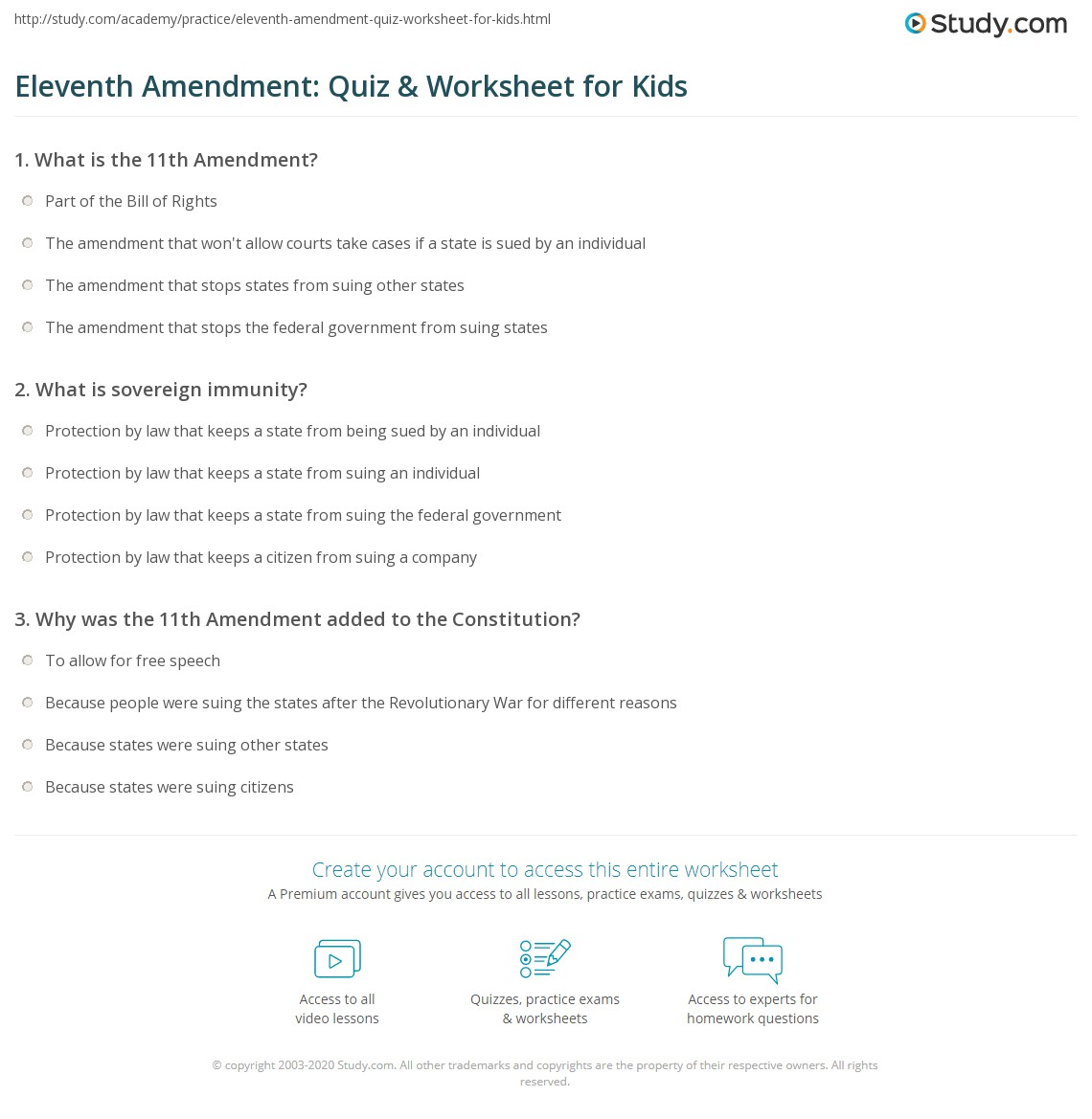 Eleventh Amendment Quiz Amp Worksheet For Kids