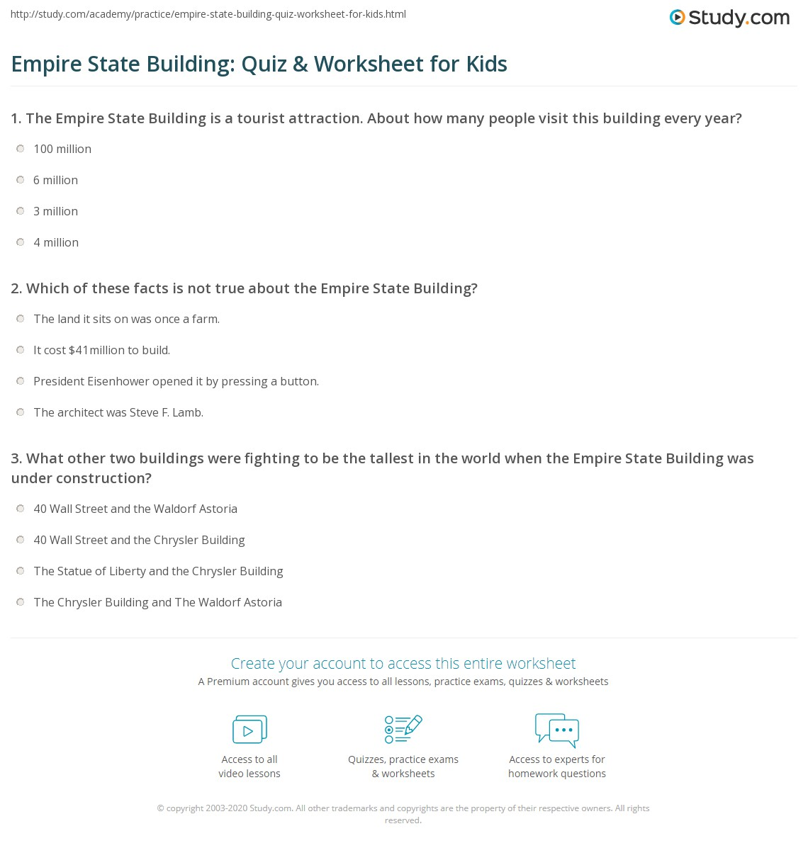 Empire State Building Quiz Amp Worksheet For Kids