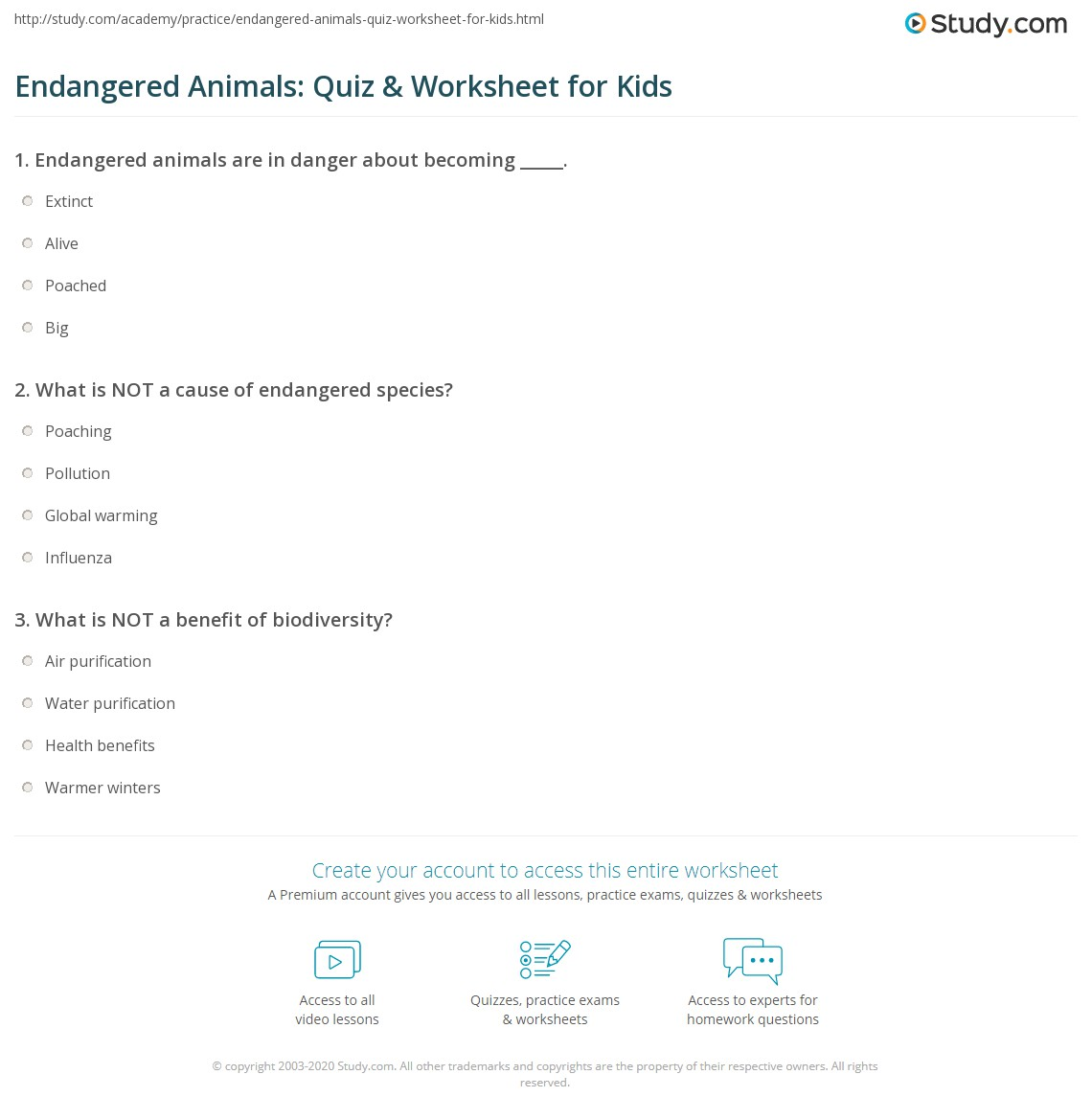 Endangered Animals Quiz Amp Worksheet For Kids
