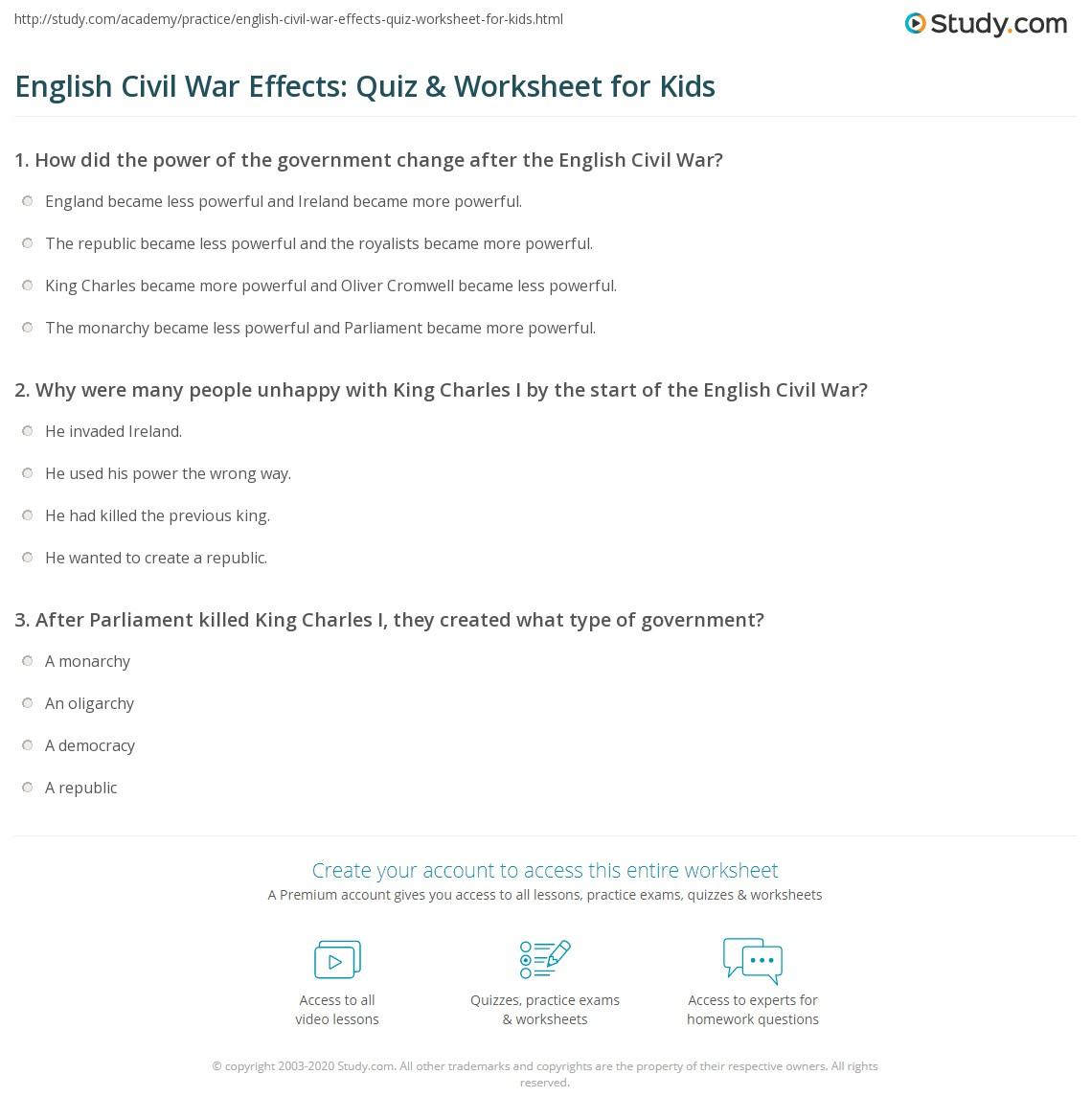English Civil War Effects Quiz Amp Worksheet For Kids