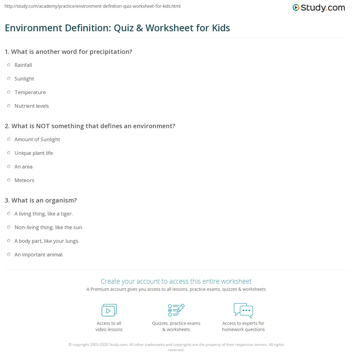 Environment Definition Quiz Amp Worksheet For Kids