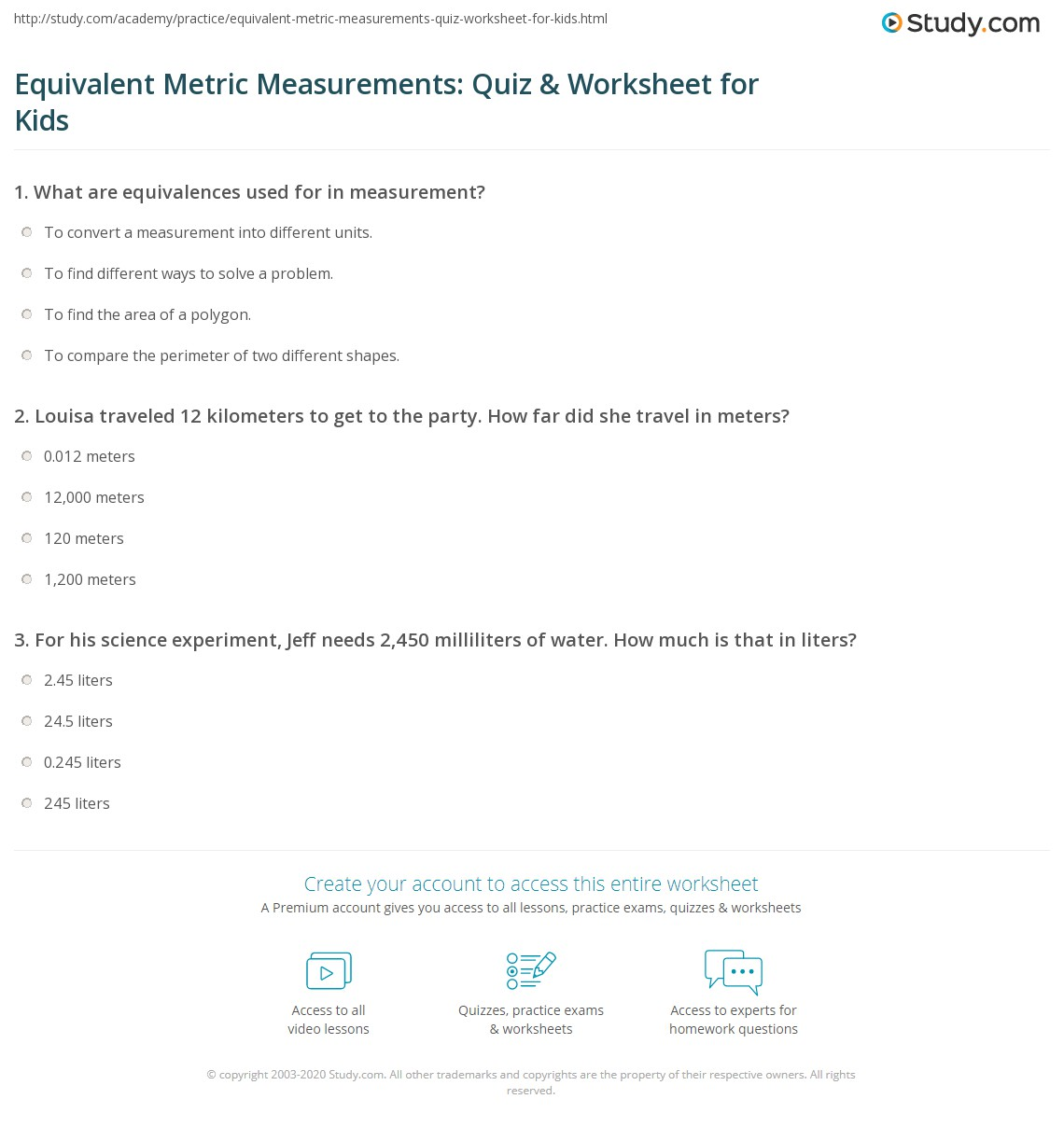 Equivalent Metric Measurements Quiz Amp Worksheet For Kids