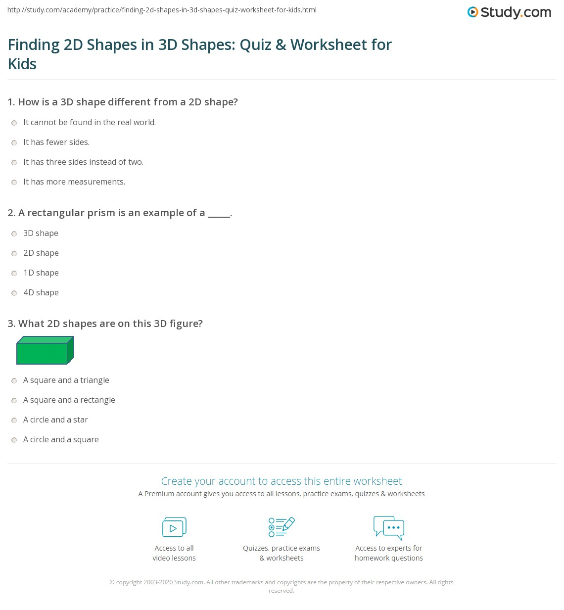 Finding 2d Shapes In 3d Shapes Quiz Amp Worksheet For Kids