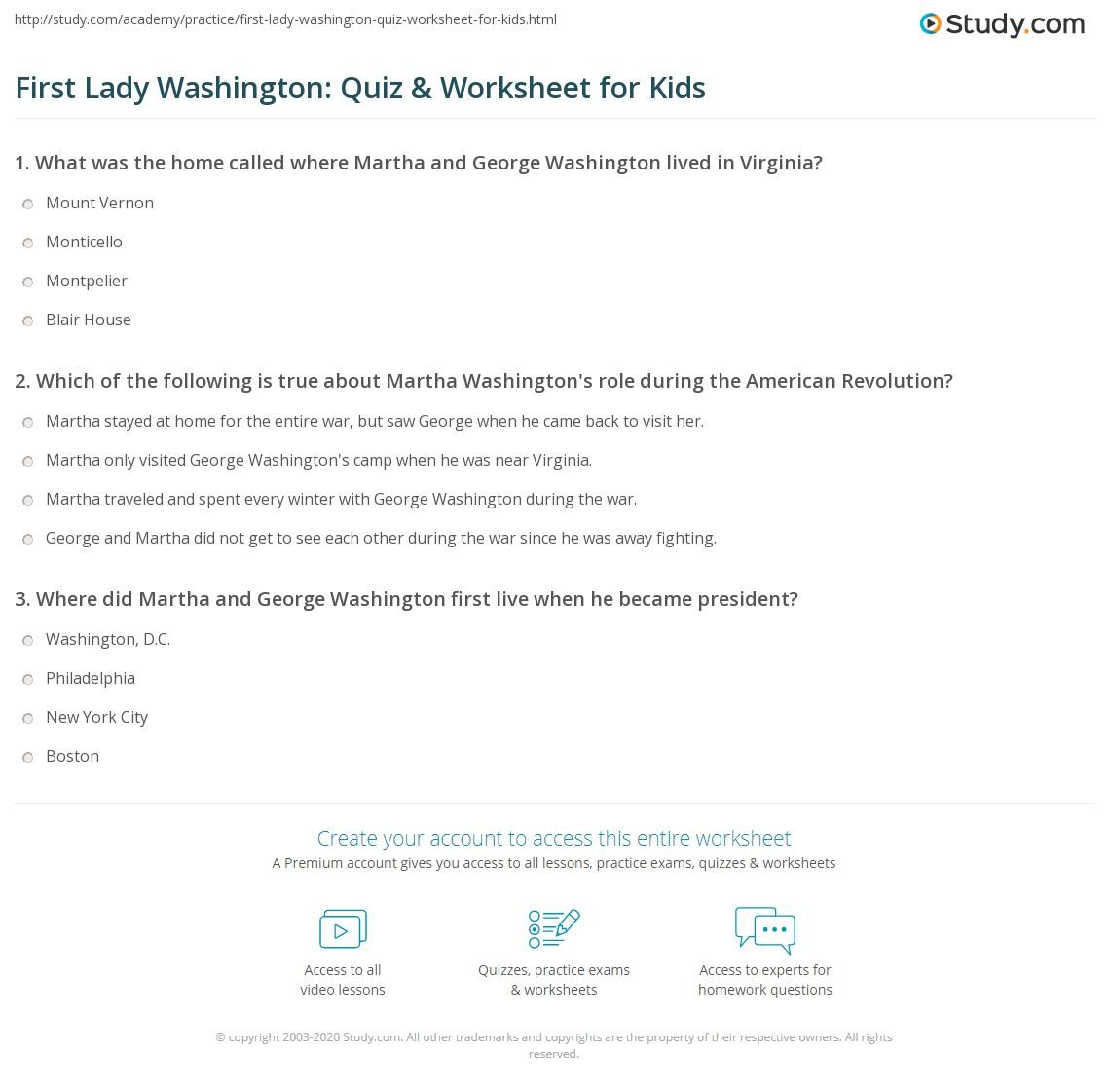 First Lady Washington Quiz Amp Worksheet For Kids