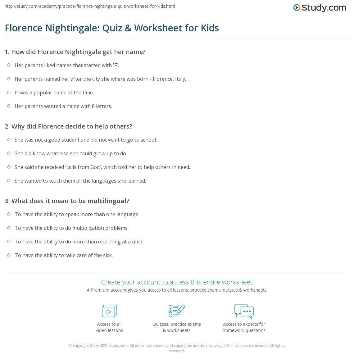 Florence Nightingale Quiz Amp Worksheet For Kids
