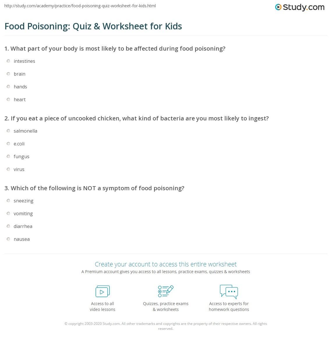 Food Poisoning Quiz Amp Worksheet For Kids