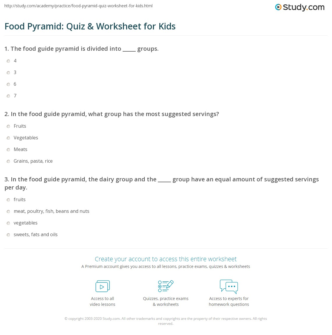 Food Pyramid Worksheet Kids