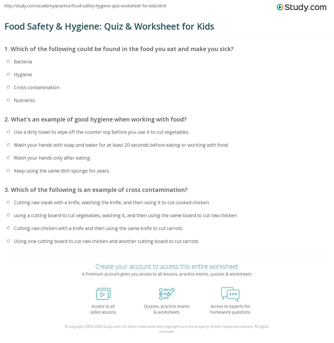 Food Safety Amp Hygiene Quiz Amp Worksheet For Kids