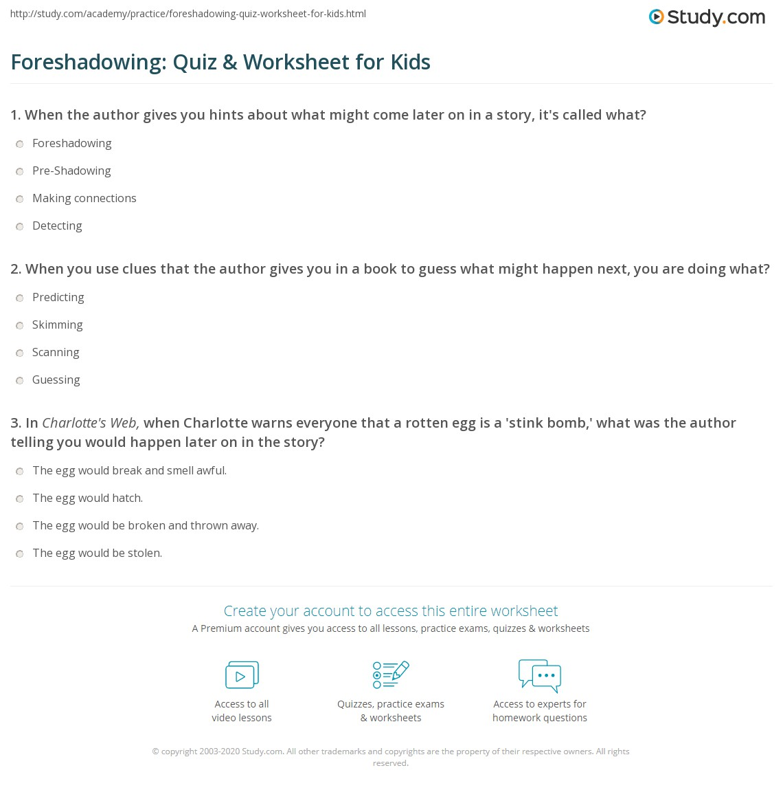 Foreshadowing Quiz Amp Worksheet For Kids