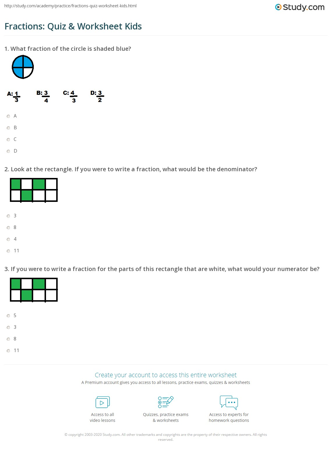 Fractions Quiz Amp Worksheet Kids