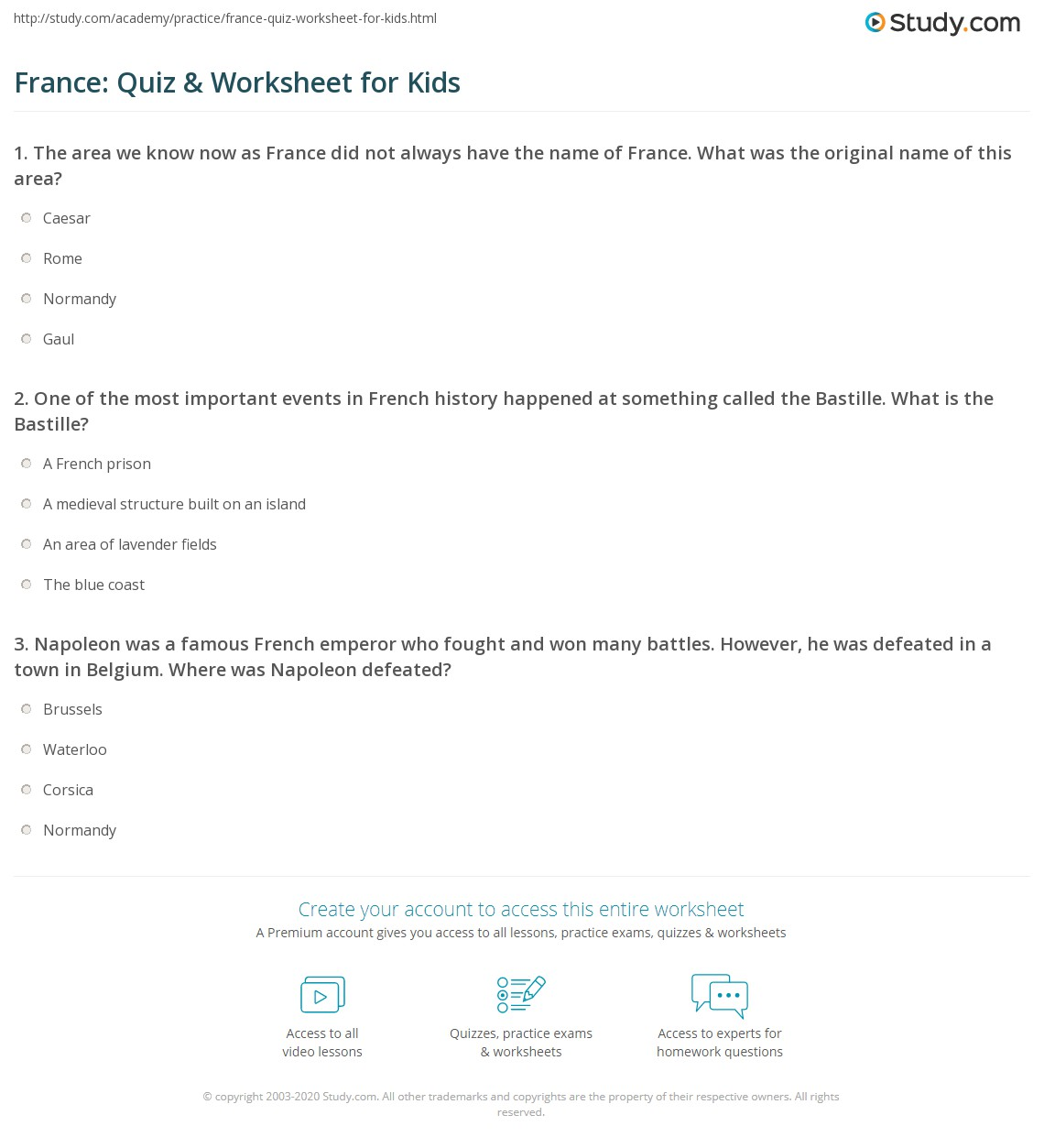 France Quiz Amp Worksheet For Kids