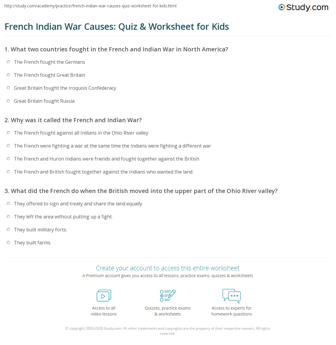 French Indian War Causes Quiz Amp Worksheet For Kids