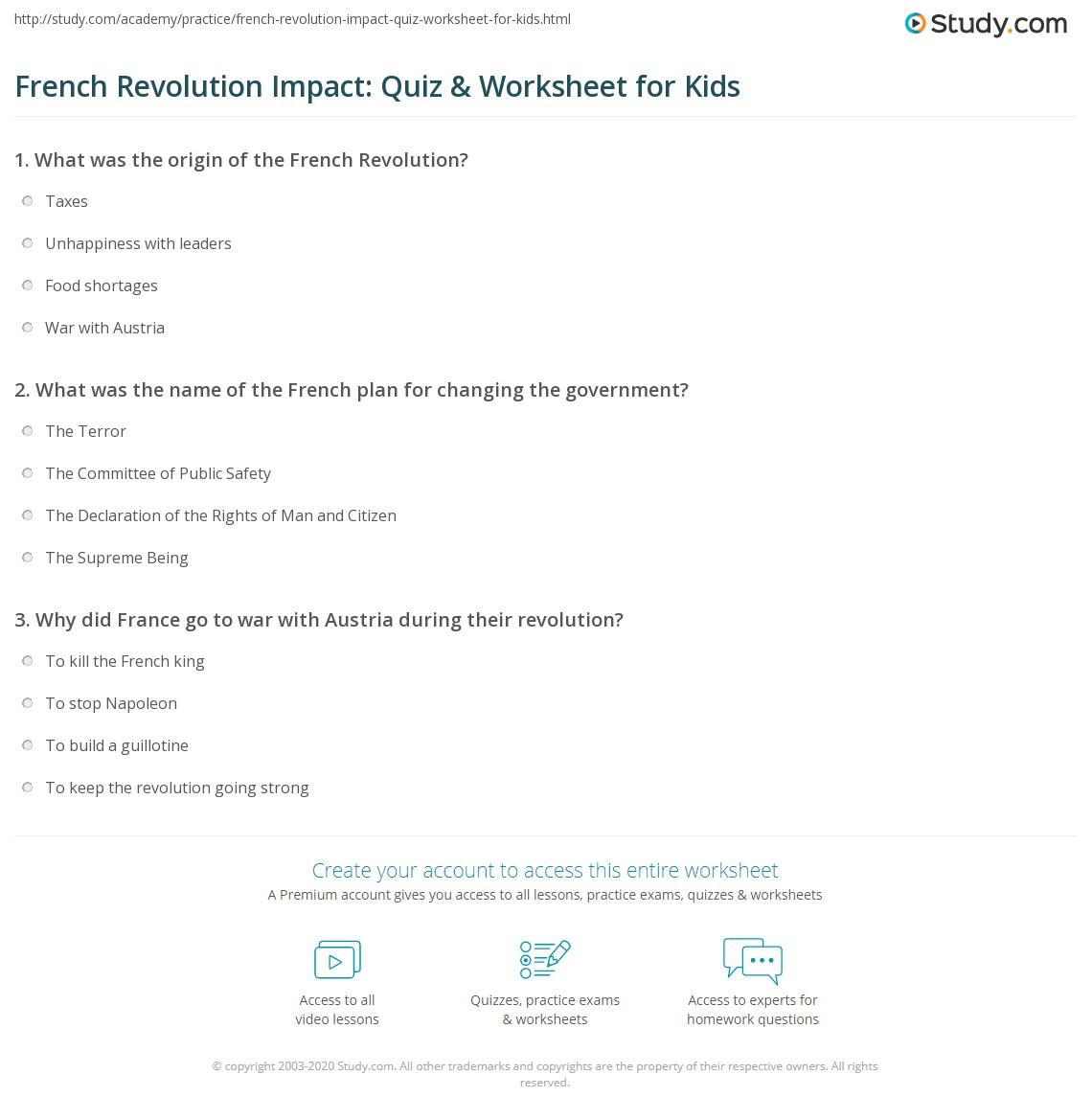 French Revolution Impact Quiz Amp Worksheet For Kids