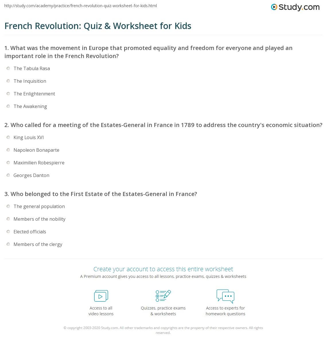 French Revolution Quiz Amp Worksheet For Kids