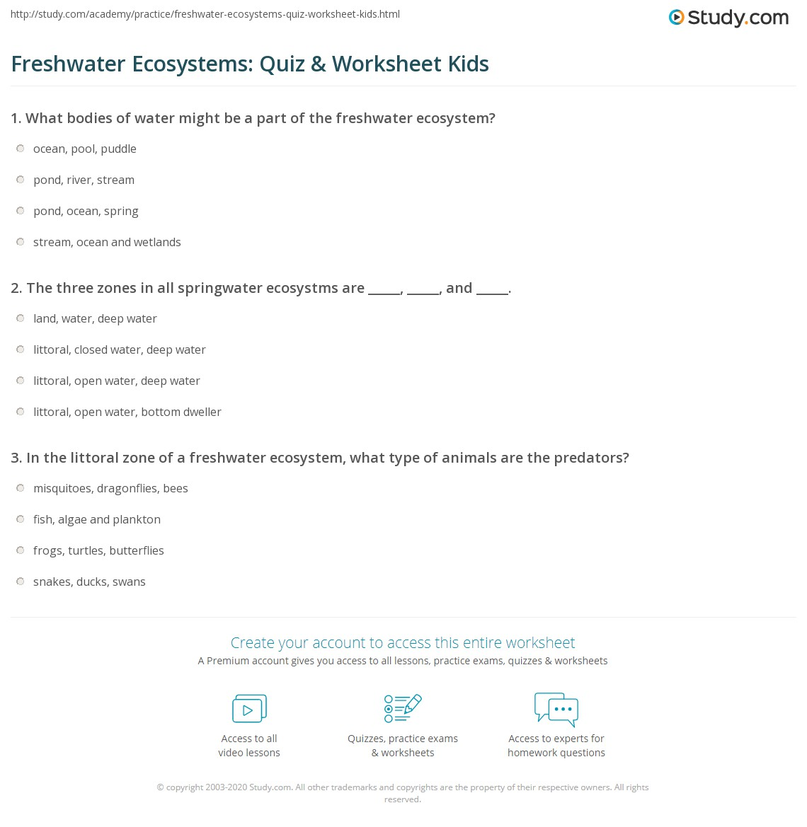 Freshwater Ecosystems Quiz Amp Worksheet Kids