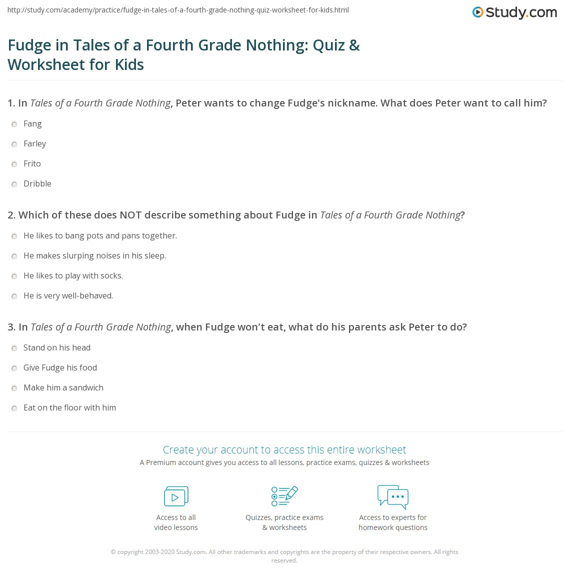 Fudge In Tales Of A Fourth Grade Nothing Quiz Amp Worksheet
