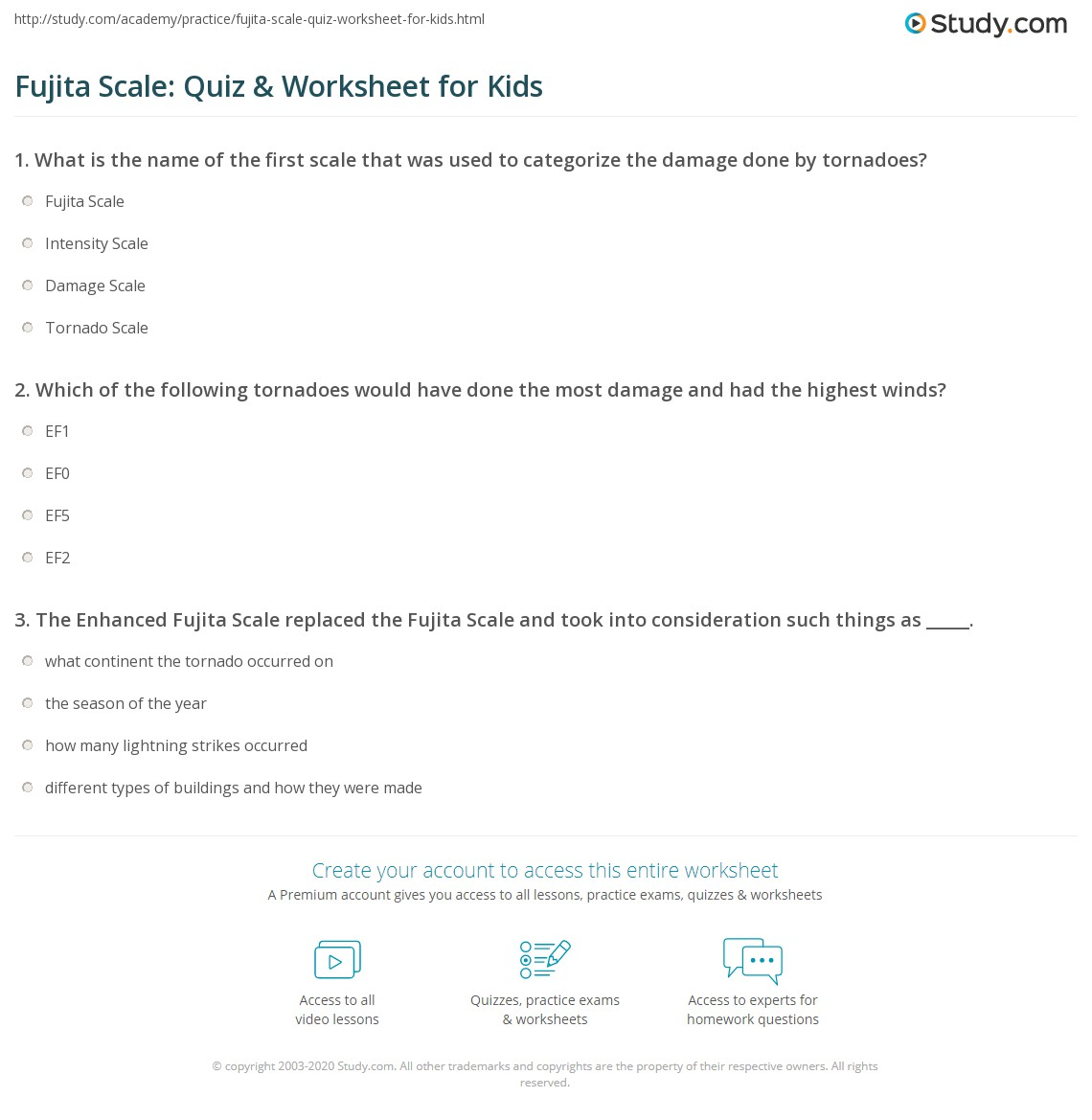 Fujita Scale Quiz Amp Worksheet For Kids