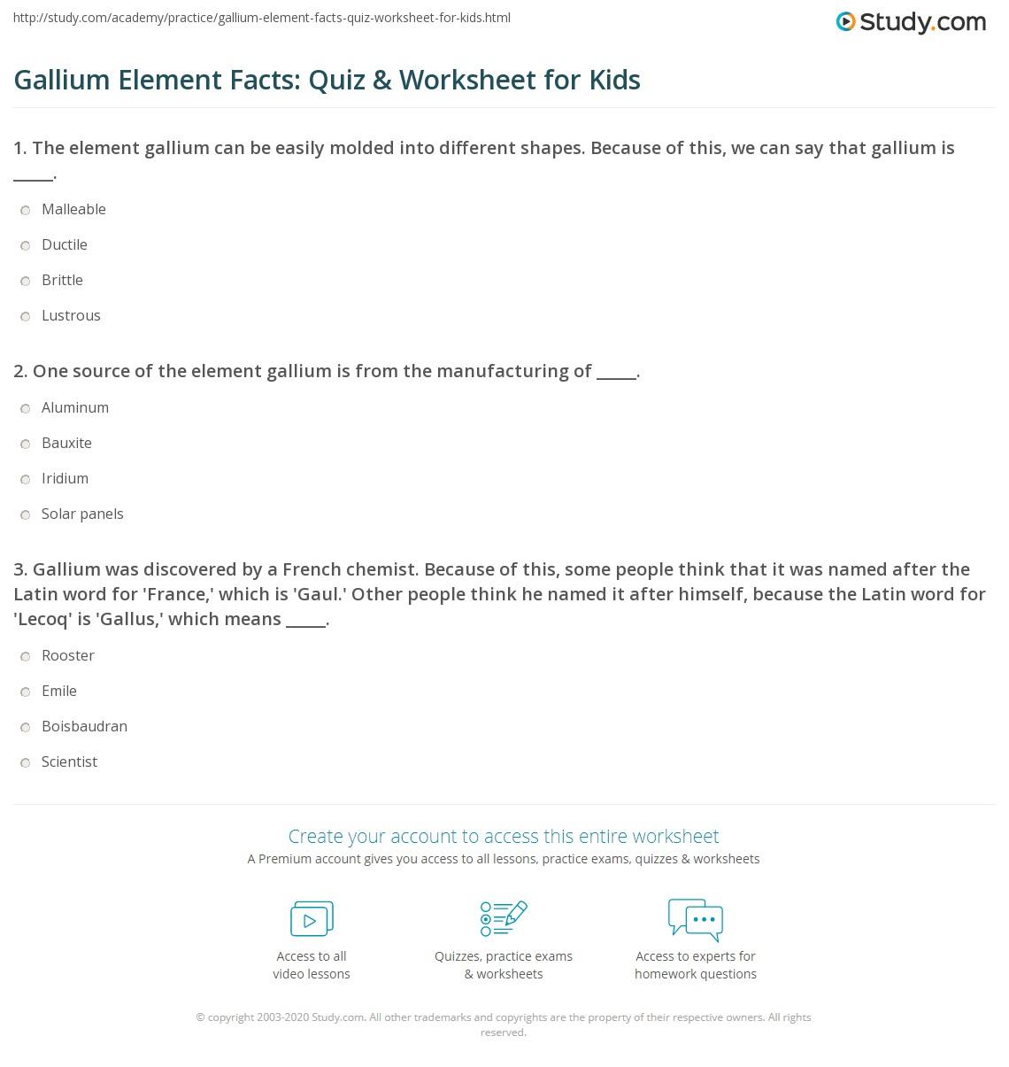 Gallium Element Facts Quiz Amp Worksheet For Kids