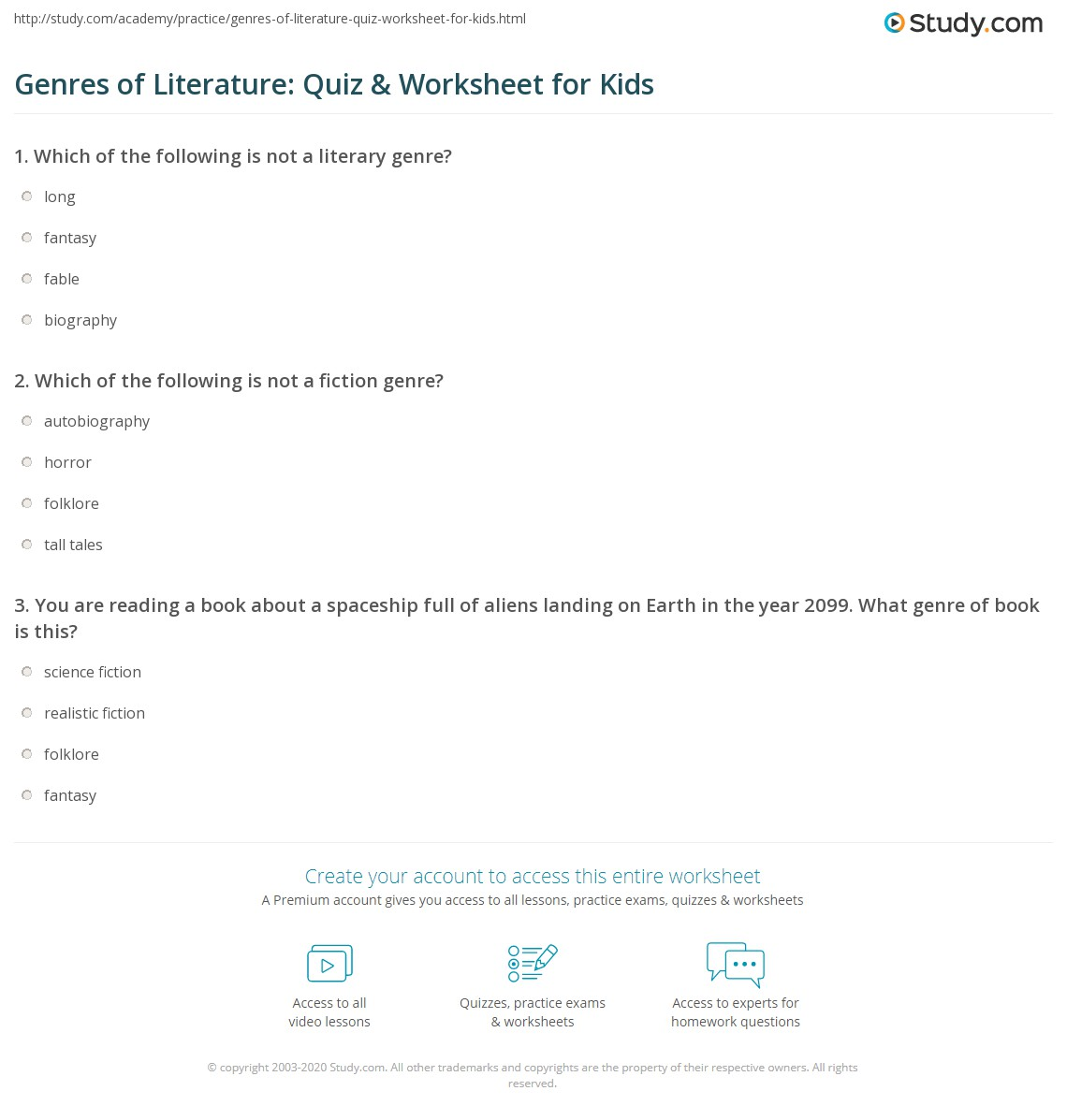 Genres Of Literature Quiz Amp Worksheet For Kids