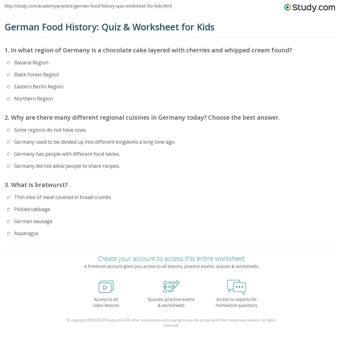 German Food History Quiz Amp Worksheet For Kids
