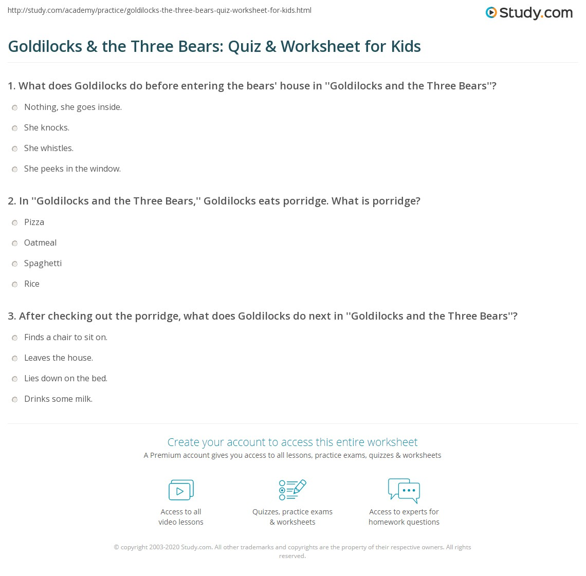 Goldilocks Amp The Three Bears Quiz Amp Worksheet For Kids