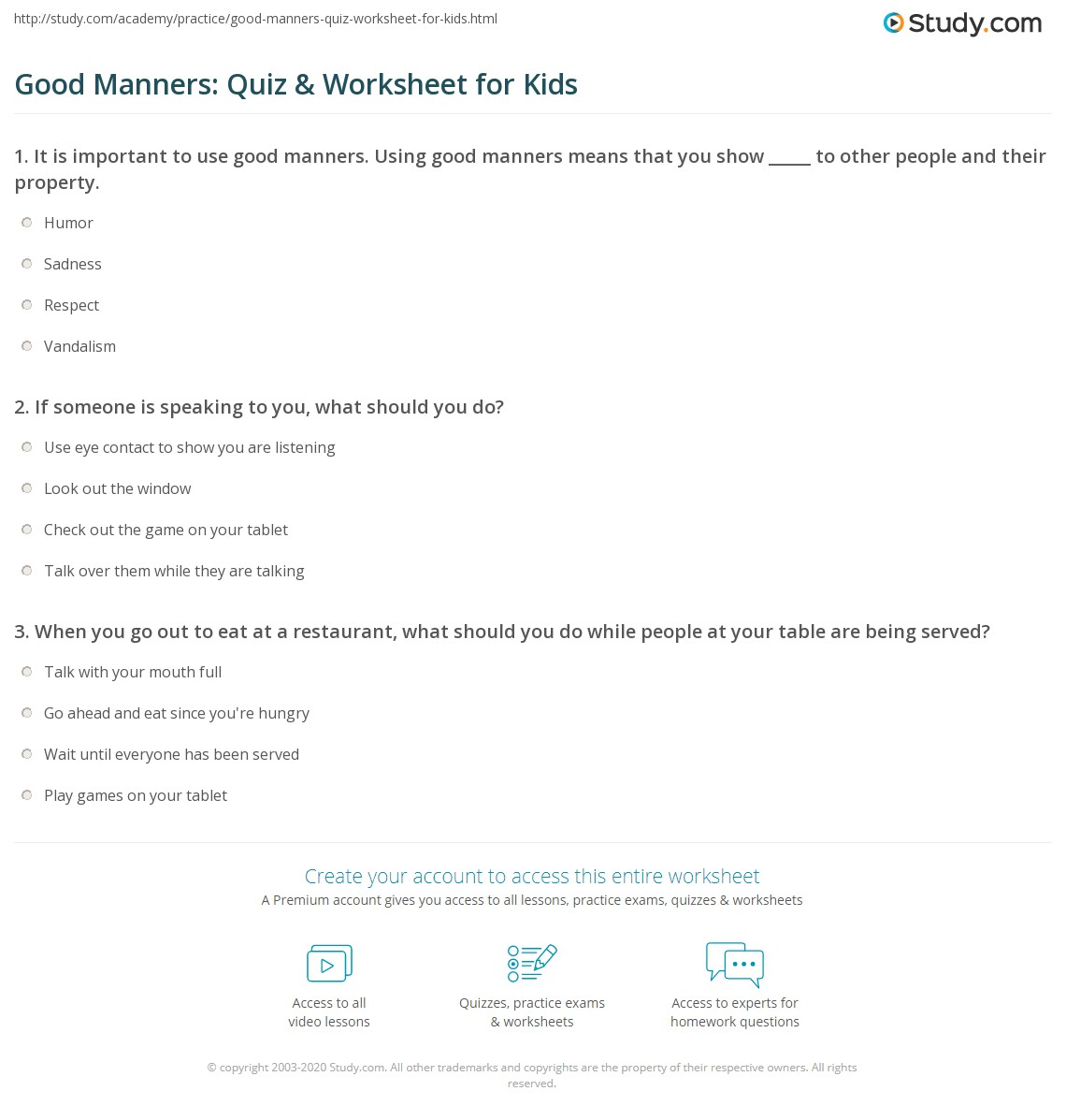 Good Manners Quiz Amp Worksheet For Kids