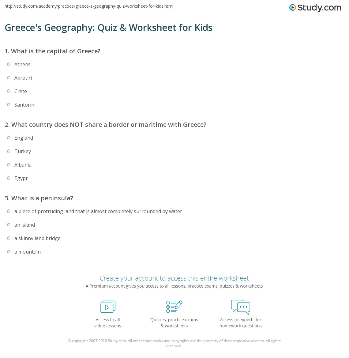 Greece S Geography Quiz Amp Worksheet For Kids