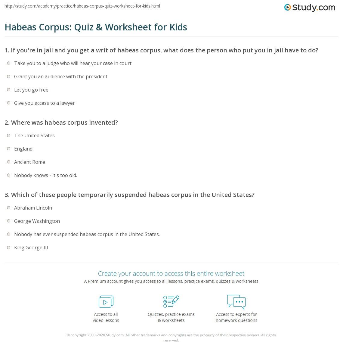 Habeas Corpus Quiz Amp Worksheet For Kids