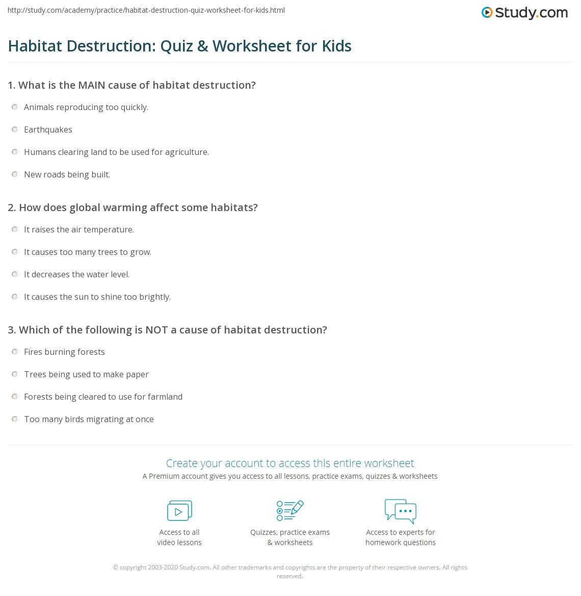 Habitat Destruction Quiz Amp Worksheet For Kids