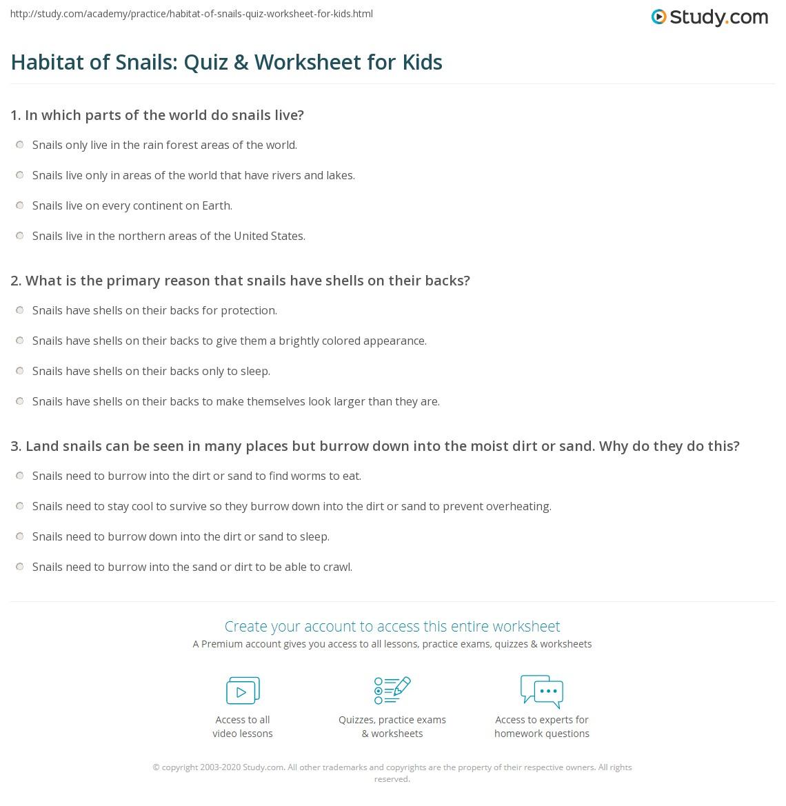 Habitat Of Snails Quiz Amp Worksheet For Kids