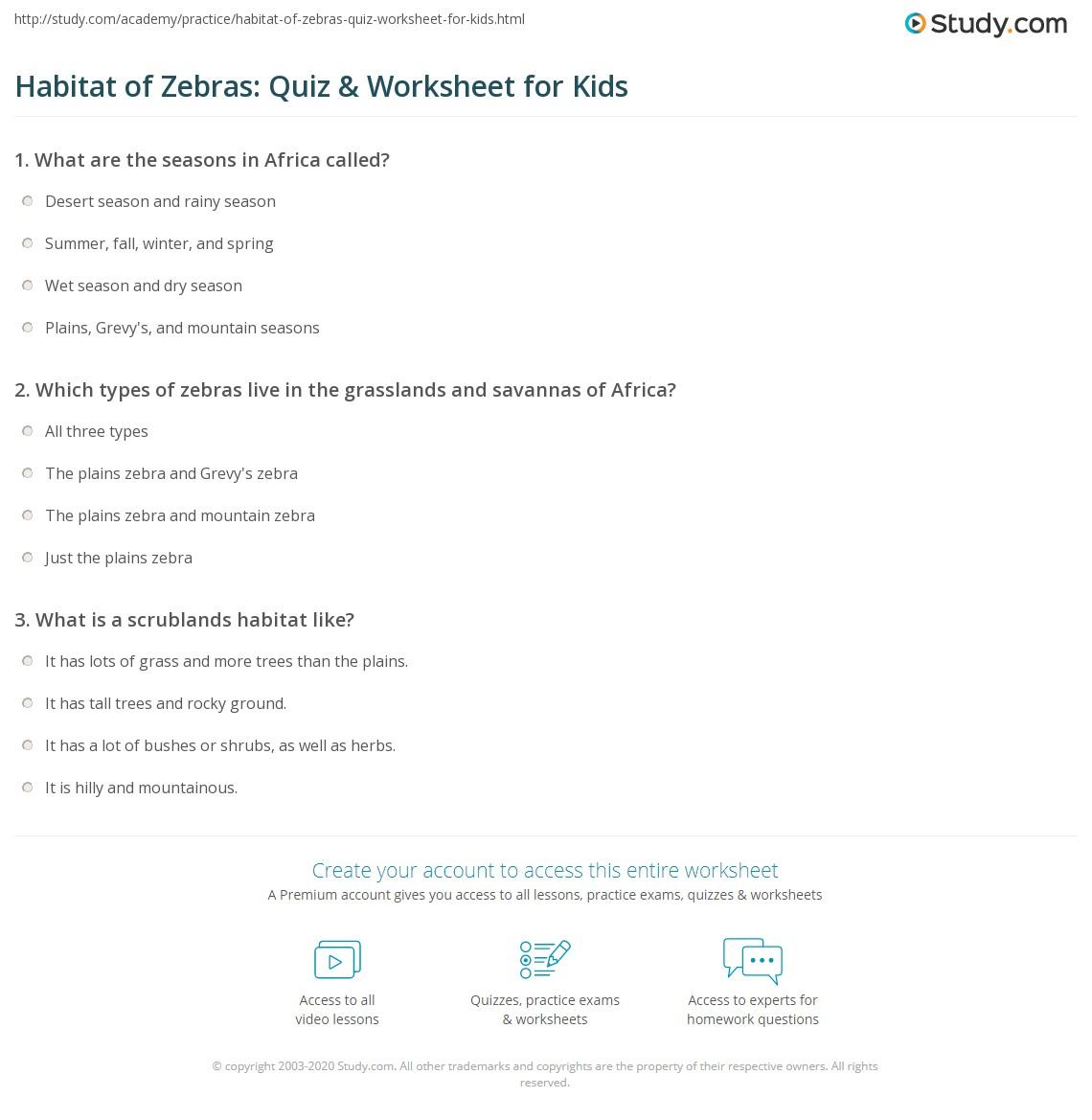 Habitat Of Zebras Quiz Amp Worksheet For Kids