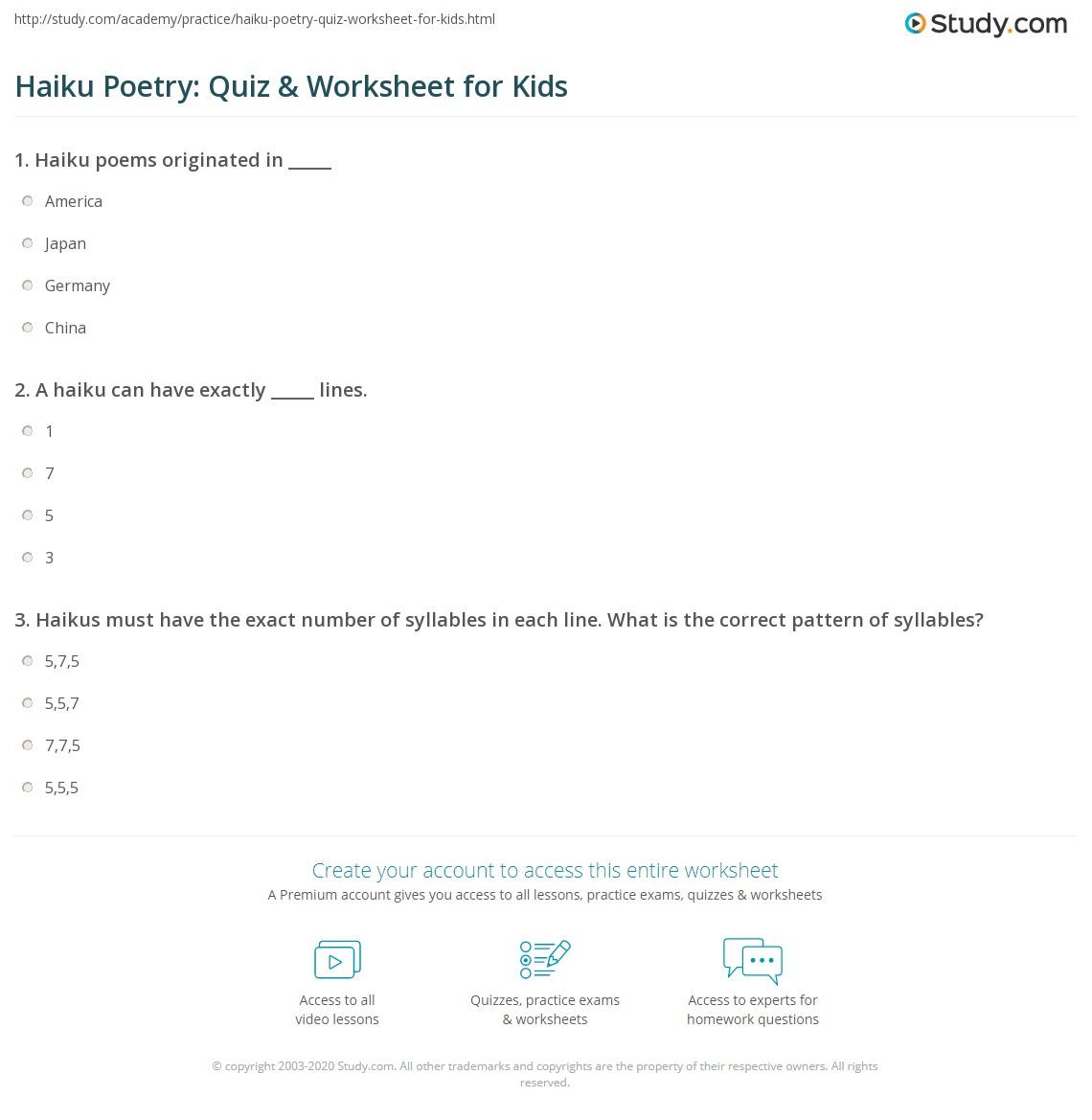 Haiku Poetry Quiz Amp Worksheet For Kids