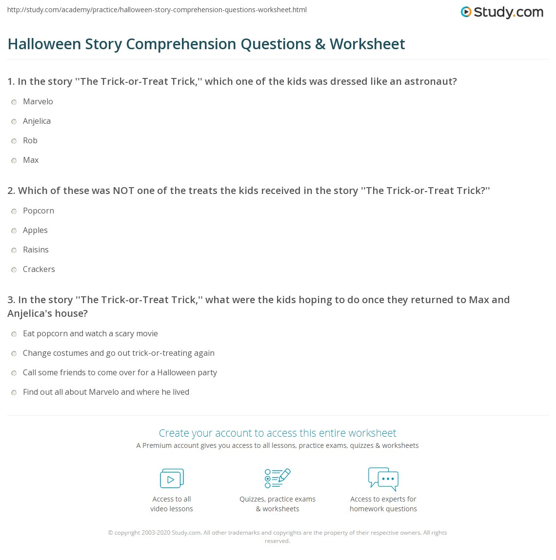 Halloween Story Comprehension Questions Amp Worksheet