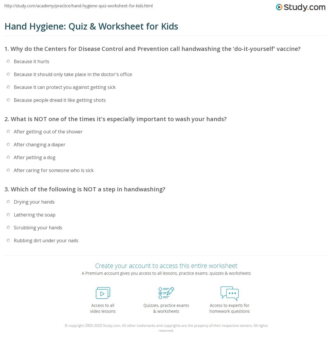 Hand Hygiene Quiz Amp Worksheet For Kids