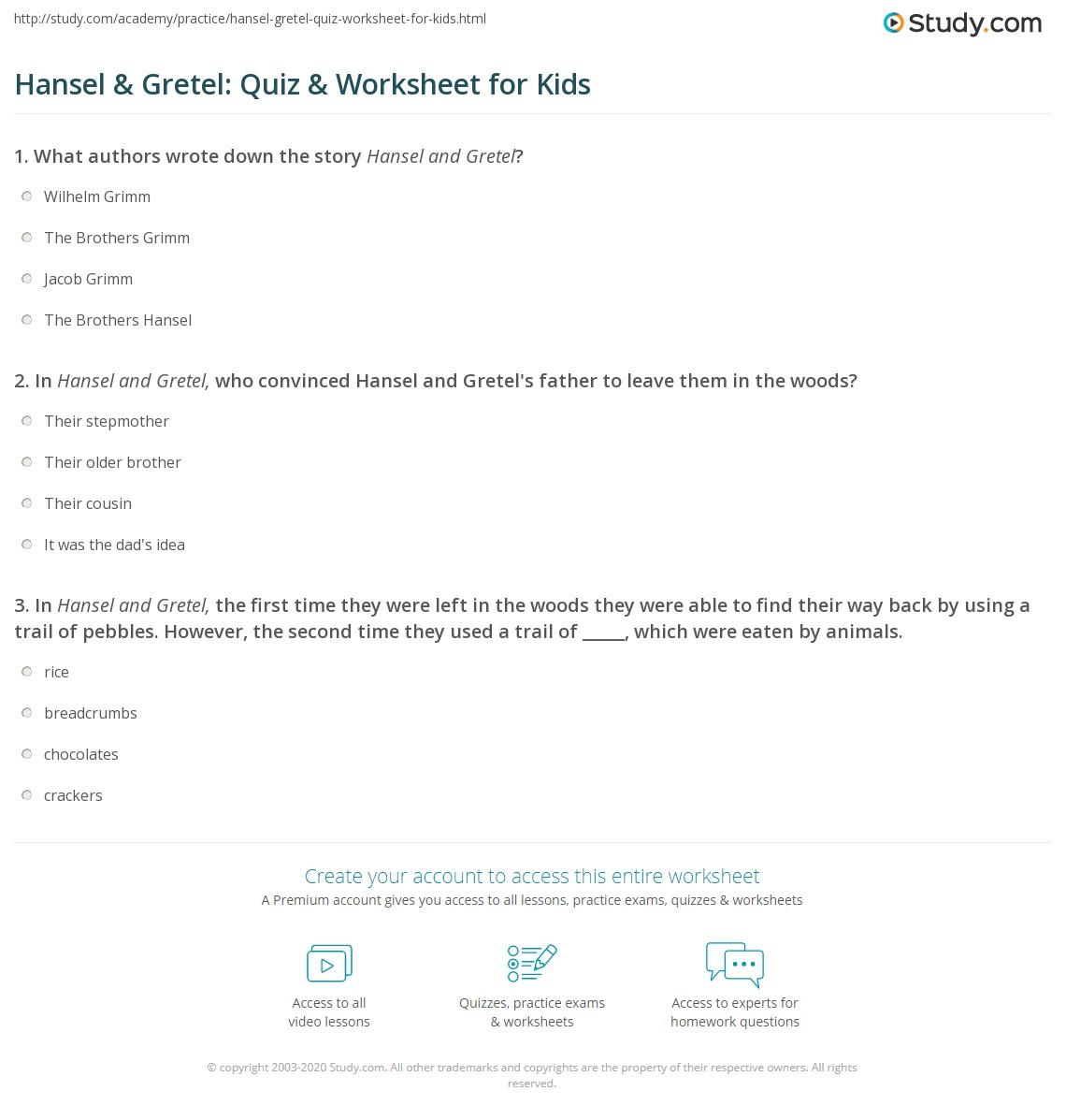 Hansel Amp Gretel Quiz Amp Worksheet For Kids