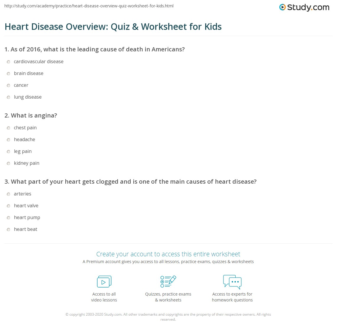Heart Disease Overview Quiz Amp Worksheet For Kids