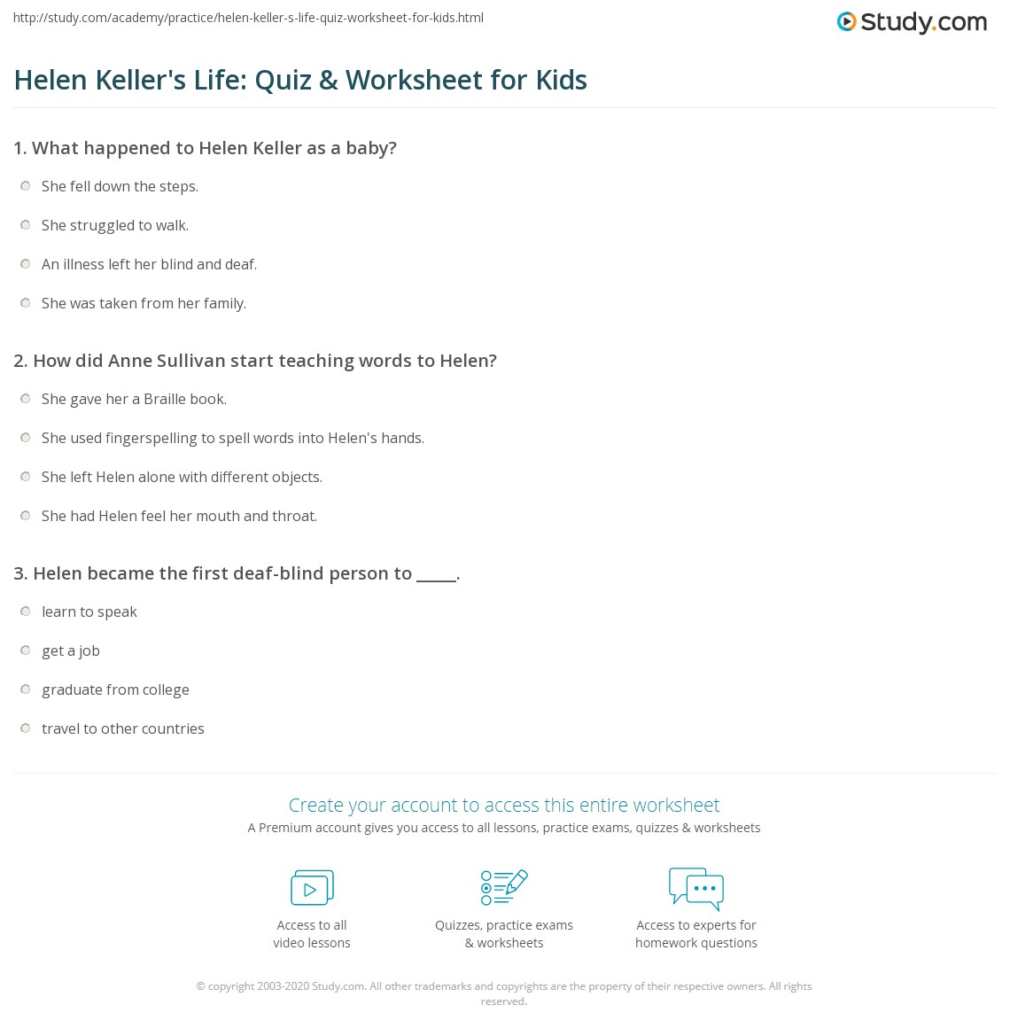 Helen Keller S Life Quiz Amp Worksheet For Kids