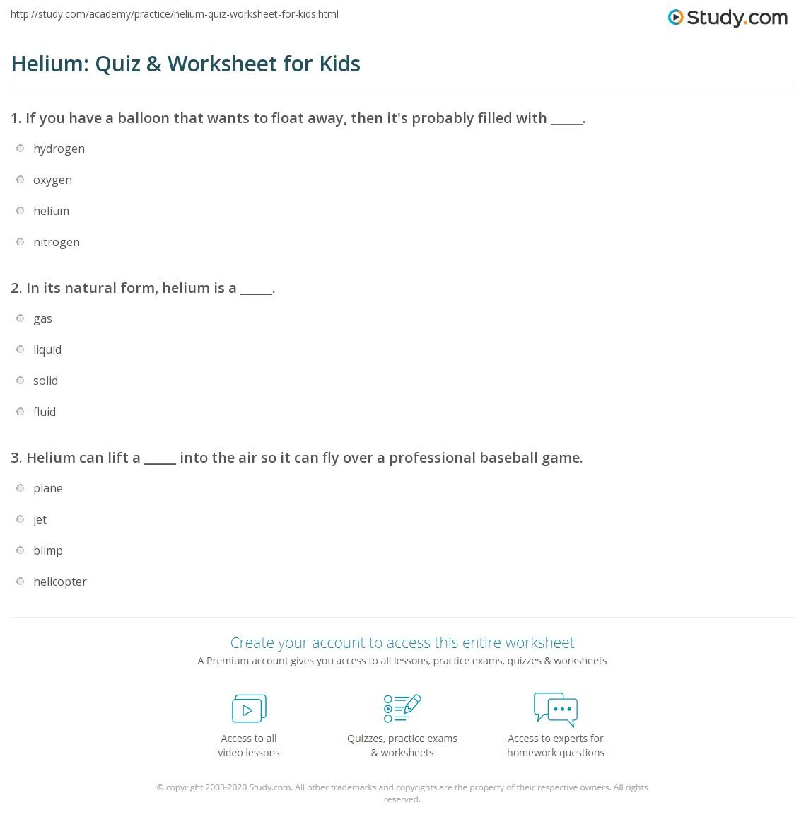 Helium Quiz Amp Worksheet For Kids