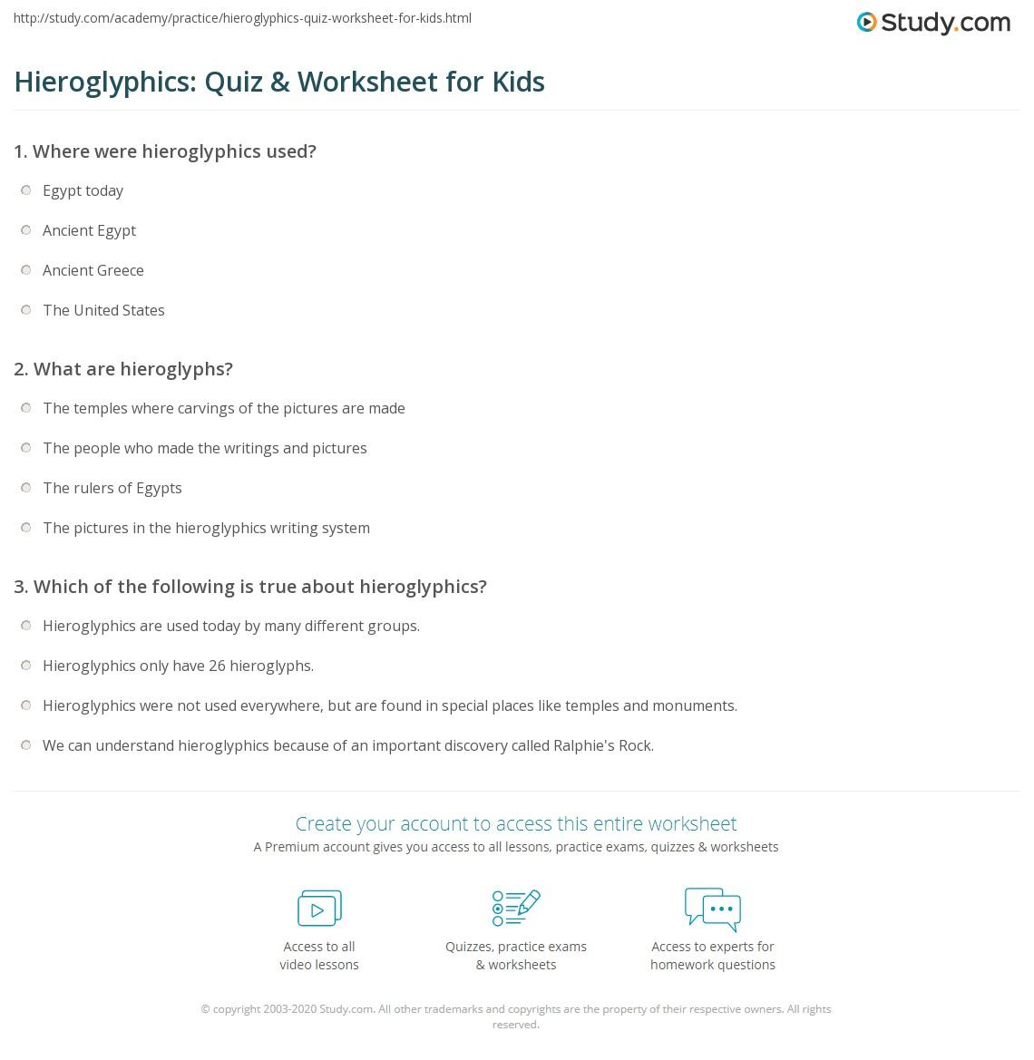 Hieroglyphics Quiz Amp Worksheet For Kids