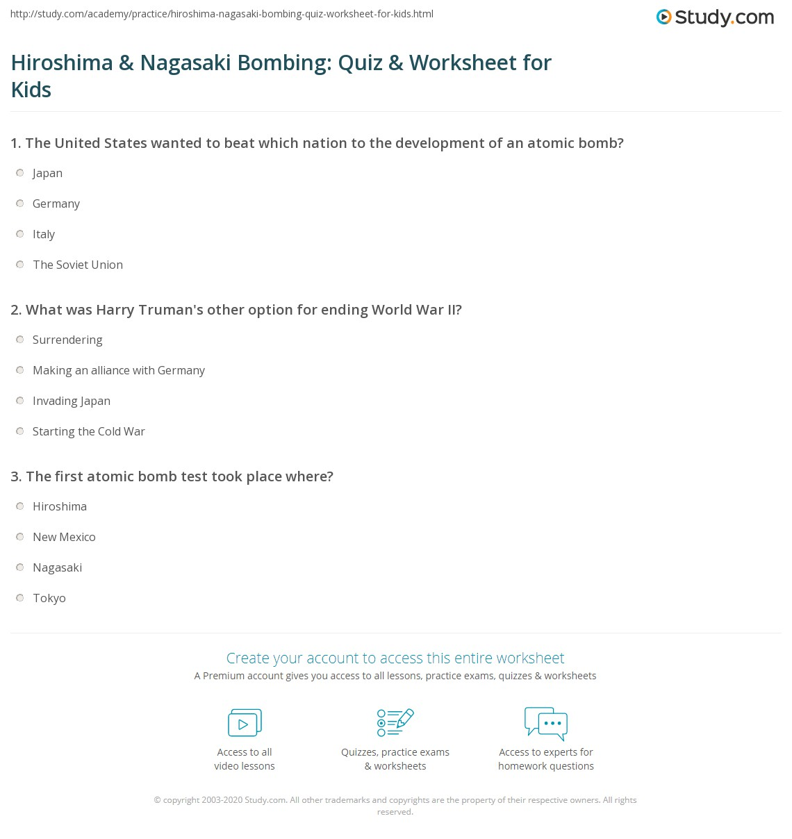 Hiroshima Amp Nagasakiing Quiz Amp Worksheet For Kids