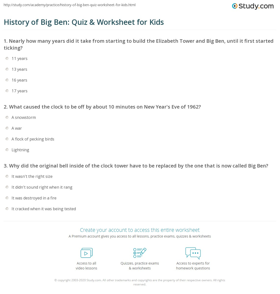History Of Big Ben Quiz Amp Worksheet For Kids