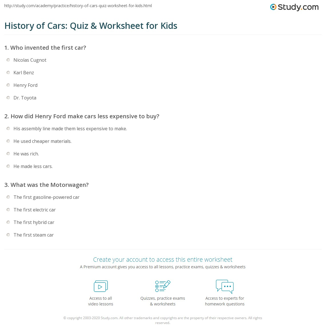 History Of Cars Quiz Amp Worksheet For Kids